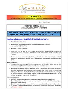 Compte rendu de la mission humanitaire du Président à Wallis et Futuna en 2014
